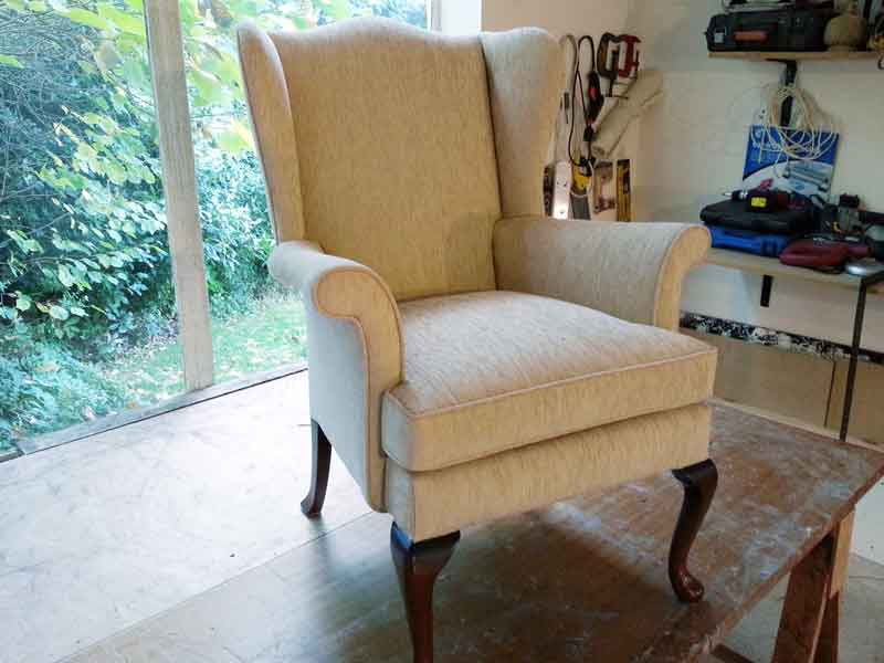 Reupholster winged chair after