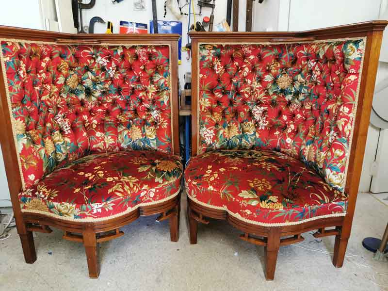 Reupholstered chinoise chairs