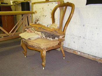 Antique chair stripped for restoration